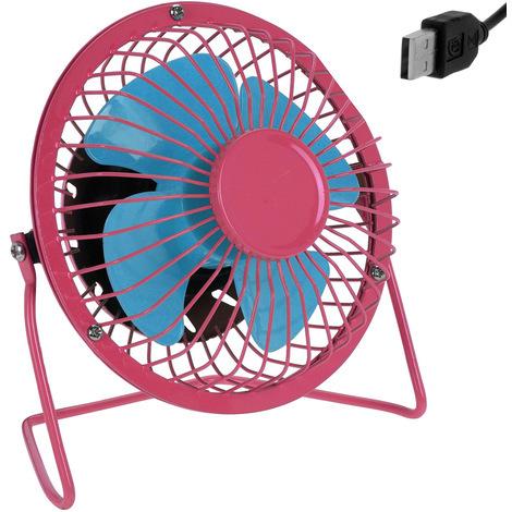 Mini ventilateur de bureau table USB métal inclinable à 360° Ø 13,5cm - Rose/Bleu débit d'air élevé