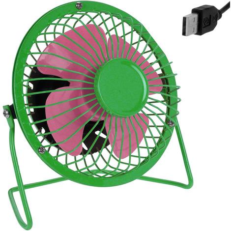 Mini ventilateur de bureau table USB métal inclinable à 360° Ø 13,5cm - Vert/Rose débit d'air élevé