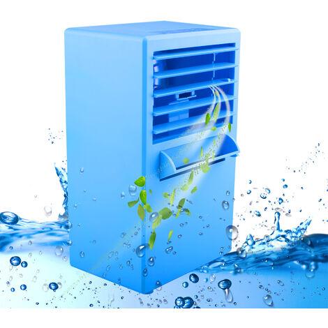 Mini ventilateur de climatiseur portable, petit ventilateur de bureau de 9,5 pouces Ventilateur de table de brumisation personnel silencieux Mini humidificateur de refroidisseur à circulation d'air évaporatif pour bureau, dortoir, table de chevet
