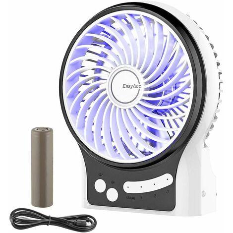 Mini Ventilateur de Table,USB Ventilateur Bureau Personnel Portable Batterie Rechargeable Silencieux 2600mAh 3 Vitesses Puissant Vent pour Cuisine Maison Voyage Pique-Nique-blanc