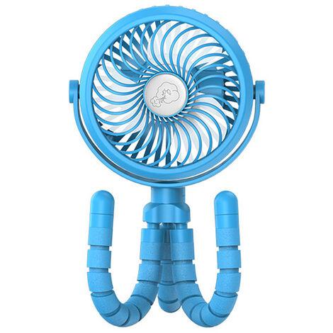 Mini Ventilateur Rechargeable Par Usb, Ventilateur A Clipser A 3 Vitesses, Avec Trepied Pliable Et Lumiere Led, Ventilateur Silencieux, Bleu