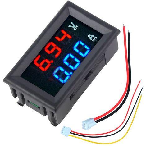 "main image of ""Mini voltímetro digital amperímetro DC 100V 10A voltímetro probador de corriente azul + rojo pantalla LED dual"""