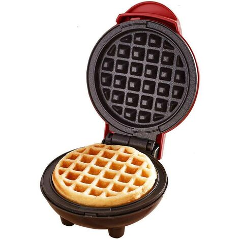 Mini waffle maker for individual waffles, paninis, hashes, others on the go Breakfast, lunch or snacks