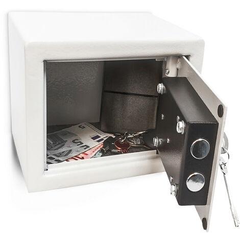 Mini Wandtresor mit Schlüssel, Stahl, Doppelbolzenverriegelung, robust, klein, HBT: 17 x 23 x 17 cm, hellgrau