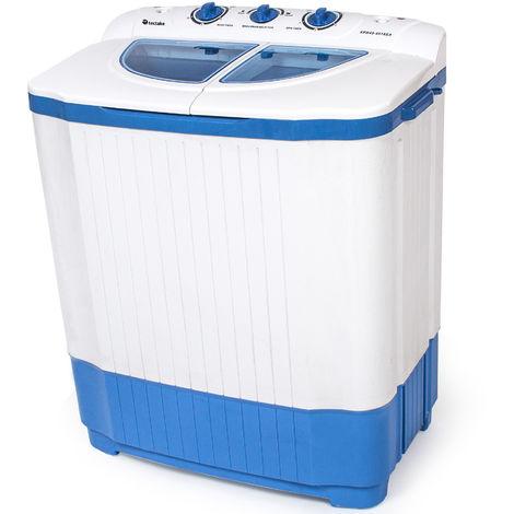Mini-Waschmaschine 4,5 kg mit Wäscheschleuder 3,5 kg - Campingwaschmaschine, Single Waschmaschine, Toploader - weiß