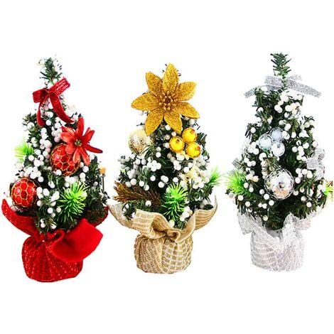 Mini Weihnachtsbaum, Miniatur künstlicher Weihnachtsbaum 3 Stück Silber Rotgold Tanne Baum Weihnachtsschmuck für Tisch und Schreibtisch Tischplatte Weihnachts Home Party Dekoration