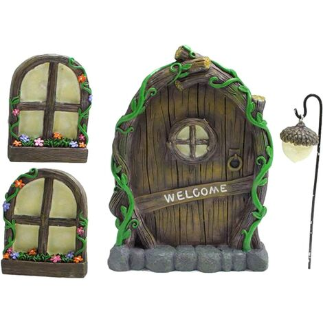 """main image of """"Miniature Fairy GNOME Home Window and Door for Trees, Yard Art Garden Sculpture Decoration for Kids Room, Wall and Outdoor Trees"""""""