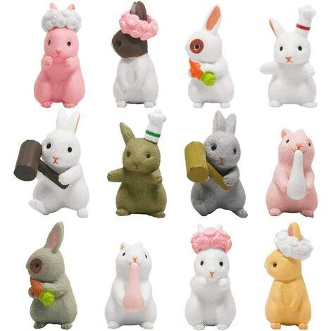 Miniature Lapin Ornement, 12 Mini Figurines de Lapin de Pâques, Figurine Lapin Paques, Animaux en Resine Petite Taille, Jouet Lapin pour Décoration de Pâques, Fête de Jardin, Table Ornements