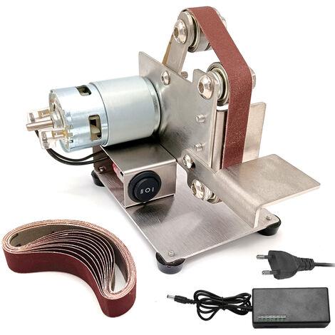 Miniature mini machine abande de pon?age bricolage polisseuse abois ponceuse abois norme europeenne 220 V
