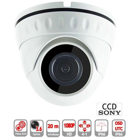 Minidomo 4 en 1 1080P exterior 3.6mm micrófono infrarrojos OSD-UTC blanco