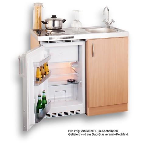 Super Miniküche 100 cm in Buche mit Spüle, Duo-Glaskeramik-Kochfeld und UF68