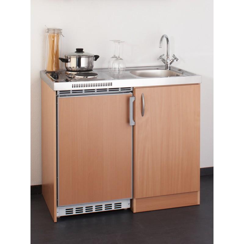 Miniküche 100 cm in Buche mit Spüle, Duo-Kochfeld und Kühlschrank