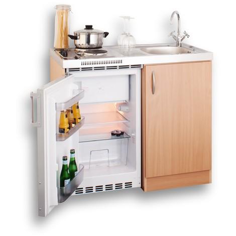 Miniküche 100 Cm In Buche Mit Spüle Duo Kochfeld Und Kühlschrank