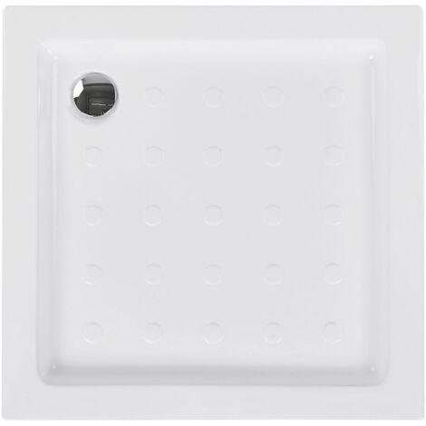 Minimalist Anti-Slip Shower Tray with Drain White 80 x 80 x 7 cm Esteli