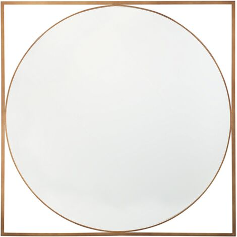 Minimalist Modern Wall Mirror Round with Square Open Frame Nihoa