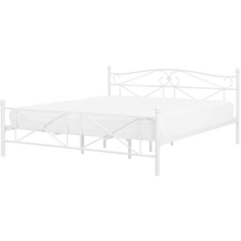 Minimalist Retro EU Super King Size Metal Bed Frame 6ft White Rodez