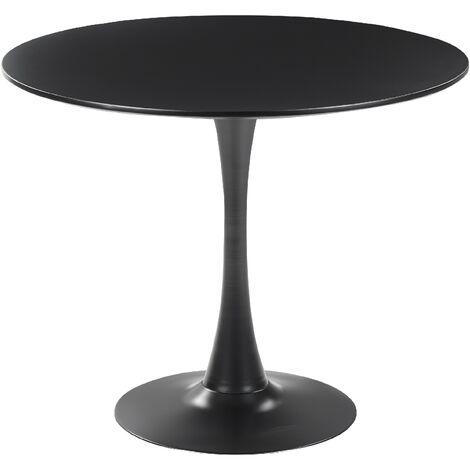 Minimalist Round Dinner Kitchen Table Black 90 cm Metal Base Boca