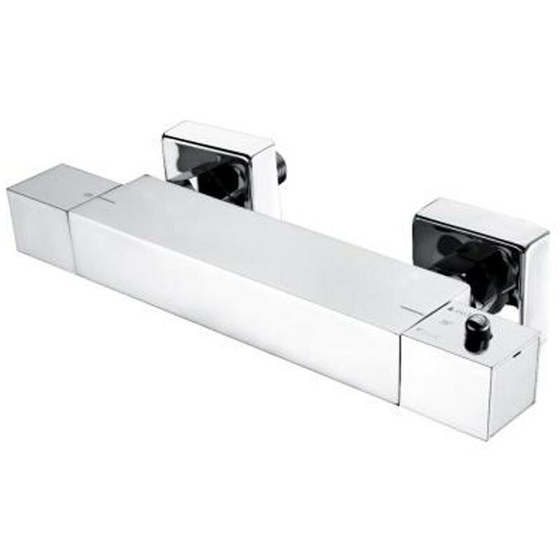 Wentworth Bathrooms - Minimalist Square Chrome Thermostatic Bar Shower Valve - Bottom Outlet