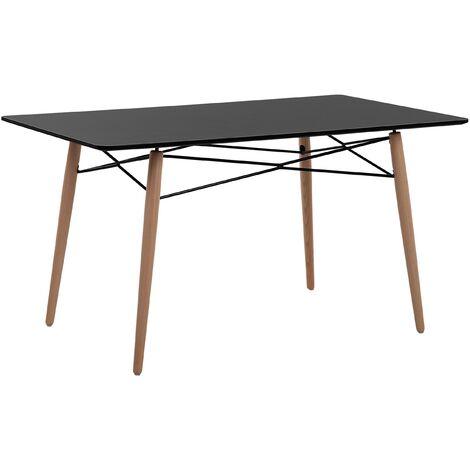 Minimalist Wooden Dining Table Kitchen Furniture 140 x 80 cm Black Top Biondi