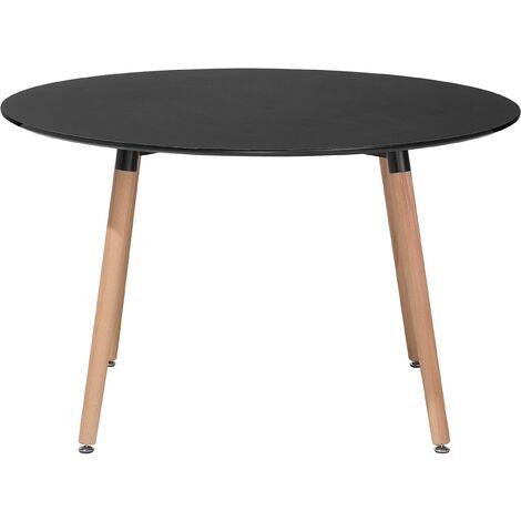 Minimalistic Round Dinner Kitchen Table Rubberwood Round 120 cm Black Bovio
