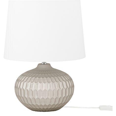 "main image of ""Minimalistic Scandinavian Ceramic Round Bedside Table Lamp Gold with White Shade Pirita"""