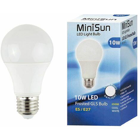 MiniSun 10W ES E27 LED GLS Light Bulbs in Cool White - Pack of 10 - White