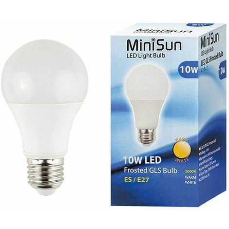 MiniSun 10W ES E27 LED GLS Light Bulbs in Warm White - Pack of 6 - White
