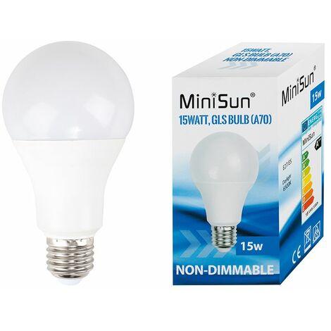 MiniSun 15W LED ES E27 GLS Energy Saving Light Bulbs in Cool White - Pack of 10