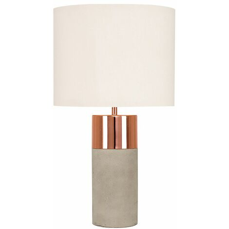 """main image of """"MiniSun - 2 x Cement / Stone & Copper Table Lamps + Beige Light Shades + 4W LED Candle Bulbs Warm White"""""""