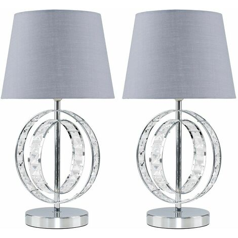 """main image of """"MiniSun - 2 x Chrome Acrylic Jewel Touch Table Lamps With Grey Light Shades"""""""