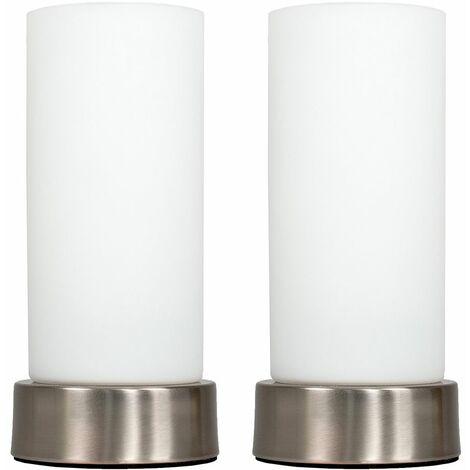 "main image of ""MiniSun - 2 x Chrome Bedside Table Lamps + White Glass Shade + 4W LED Candle Bulbs - Warm White"""