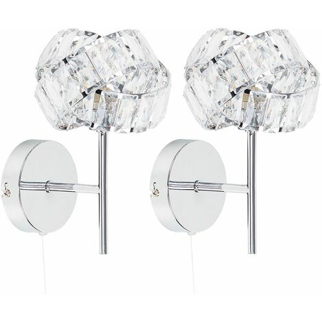 """main image of """"2 x Chrome & Clear Acrylic Jewel Intertwined Rings Pull Switch Wall Lights - Add LED Bulbs"""""""