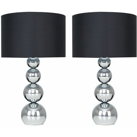 """main image of """"MiniSun - 2 x Chrome Stacked Balls Touch Table Lamps + Black Faux Silk Shade"""""""