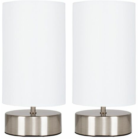 """main image of """"2 x Chrome Touch Dimmer Bedside Table Lamps with Light Shades - White"""""""