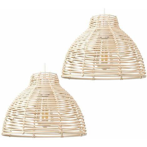 "main image of ""MiniSun - 2 x Cream Wicker Rattan Basket Ceiling Pendant Light Shades"""