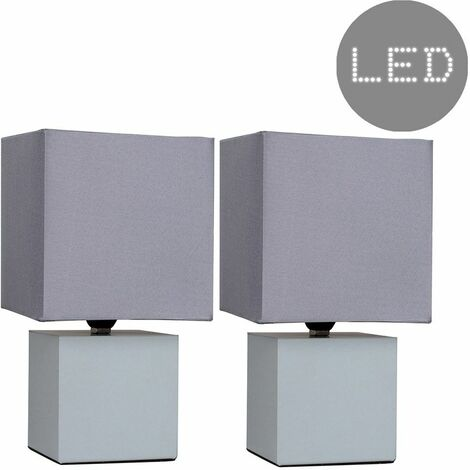 """main image of """"MiniSun - 2 x Cube Touch Dimmer Bedside Table Lamps - Grey"""""""