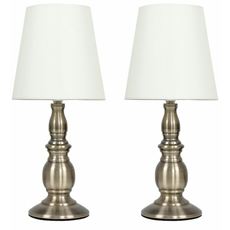 """main image of """"2 x Traditional Touch Table Lamps With Tapered Shades - Brushed Chrome"""""""