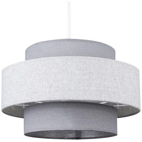 "main image of ""3 Tier Easy Fit Herringbone Ceiling Light Shade + 10W BC B22 LED GLS Bulb - Mustard"""