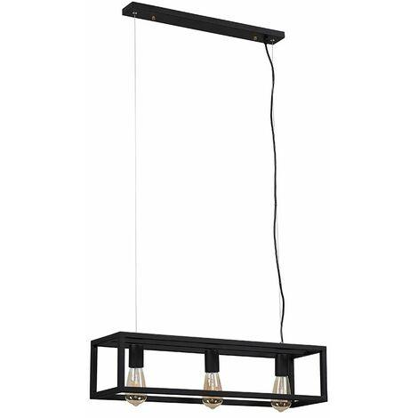 Minisun 3 Way Black Caged Ceiling Light + 4W LED Filament Bulbs Warm White - Black