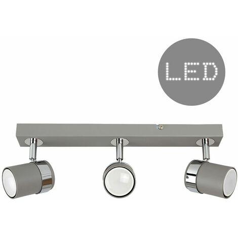 Minisun 3 Way Cement & Chrome Straight Bar Ceiling Spotlight + 5W LED GU10 Bulbs - Warm White - Grey