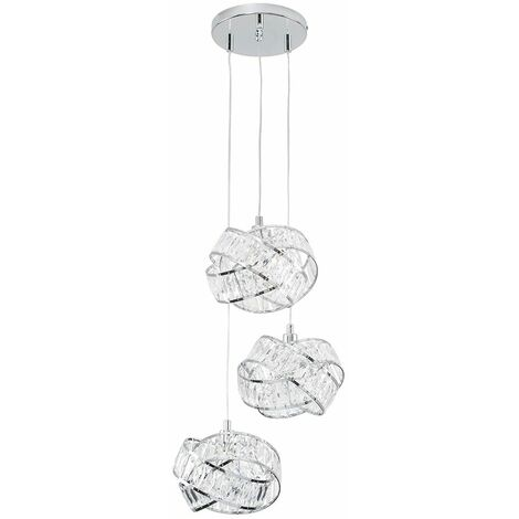 Minisun 3 Way Chrome & Clear Acrylic Jewel Ring Ceiling Pendant Light + 3W Dimmable LED G9 Light Bulbs Warm White