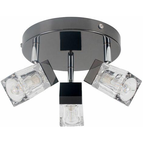 Minisun 3 Way Ice Cube Glass Ceiling Light Spotlight Ip44 Bathroom Light - No Bulbs - Black
