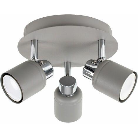 "main image of ""3 Way Round Plate Ceiling Spotlight - Chrome"""