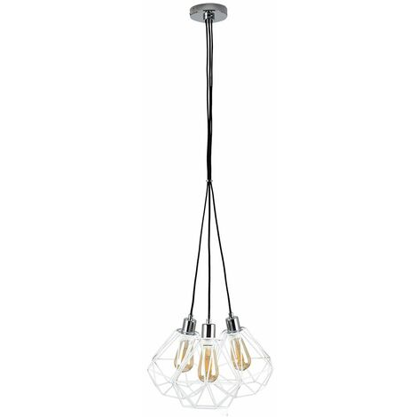 MiniSun 3 Way Suspended Droplet Ceiling Light - Silver - Silver