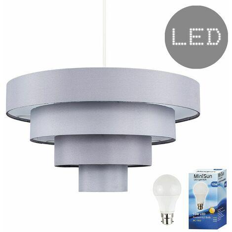 "main image of ""MiniSun - 4 Tier Grey Fabric Ceiling Pendant Light Shade - 10W LED GLS Bulb Warm White"""