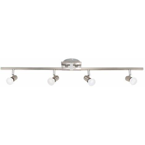 Minisun 4 Way Brushed Chrome Ceiling Bar Spotlight