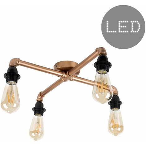 """main image of """"4 Way Copper Ceiling Light - Add LED Bulb"""""""