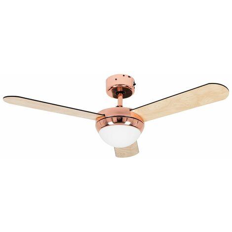 """MiniSun 42"""" / 107cm Copper Ceiling Fan with Frosted Opal Glass Light Shade & 3 x Reversible Blades - Complete with Remote Control & a 4w LED Candle Bulb [3000K Warm White]"""