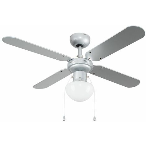 """MiniSun 42"""" Metal Grey Ceiling Fan With Frosted Opal Glass Light Shade & 4 x Reversible Silver / Black Blades - With Remote Control"""
