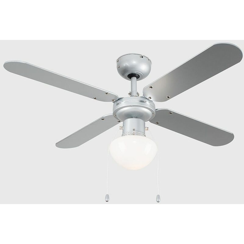 Minisun 42 Metal Grey Modern Ceiling Fan With Frosted Opal Gl Light Shade And 4 X Reversible Silver Black Blades 19497